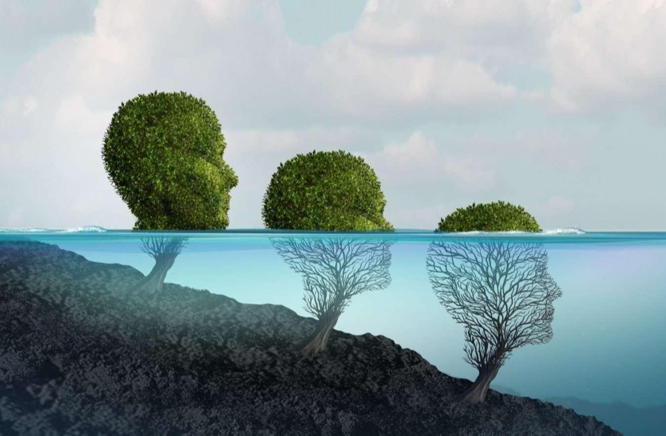 głowy psychologiczne znajdujące się w wodzie